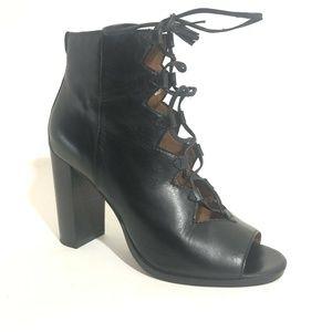 Frye Ankle Boots Gabby Open Toe Block Heel